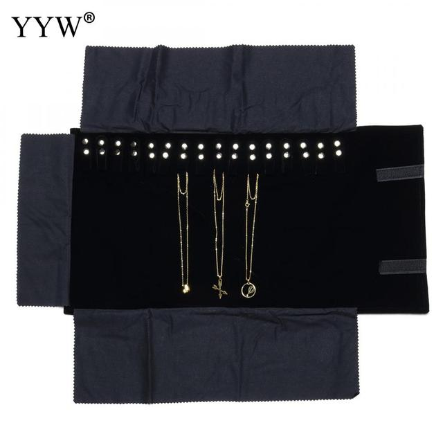 Black Velvet Case For Jewelry Storage Organizer Portable Roll Up