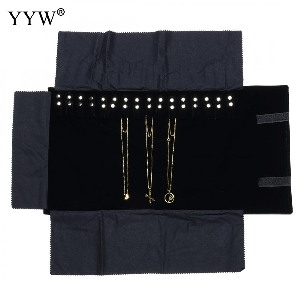 Black Velvet Case Box Holder Display For Jewelry Storage Organizer Pouch Hanging 16 Chain Necklace Braclet Earring Bag 2018