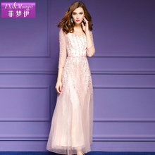 2017 spring dress women's plus size dresses female elegant gauze embroidery slim three quarter sleeve o-neck one-piece dress