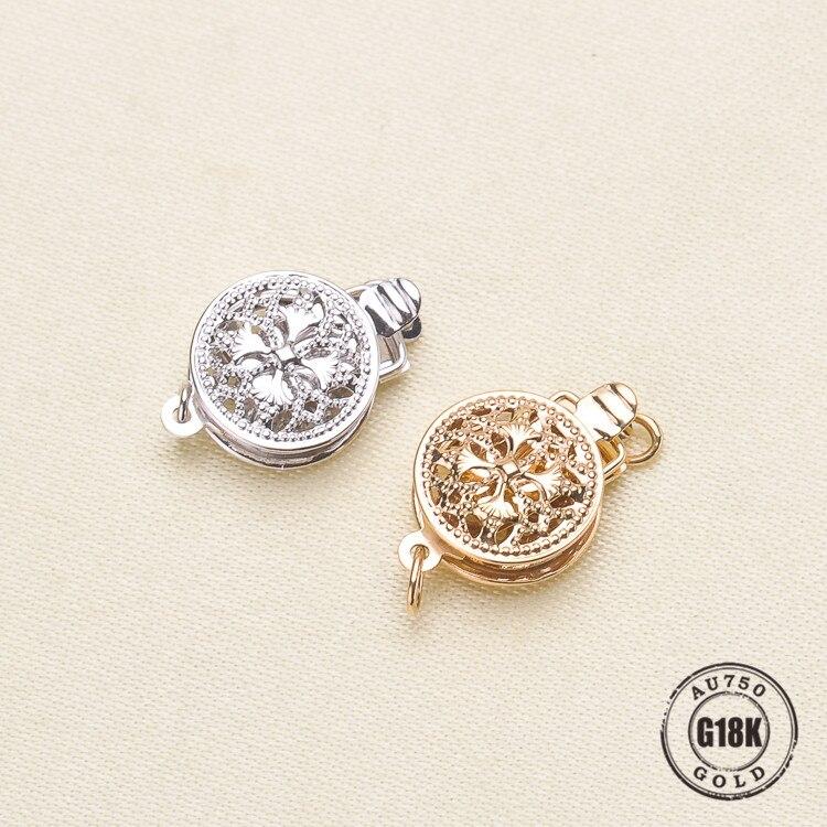 G18K or définit creux fleur pincement pousser fermoirs Vintage argent couleur boucle bricolage accessoires pour bijoux