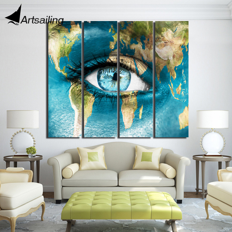 4 piece canvas continent world map woman face posters and prints wall art canvas prints artwork decor Free shipping/up-1330D