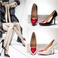 Tacones altos marca mujeres del cuero genuino bombea punta estrecha tacones altos zapatos mujer Plus tamaño 35-39