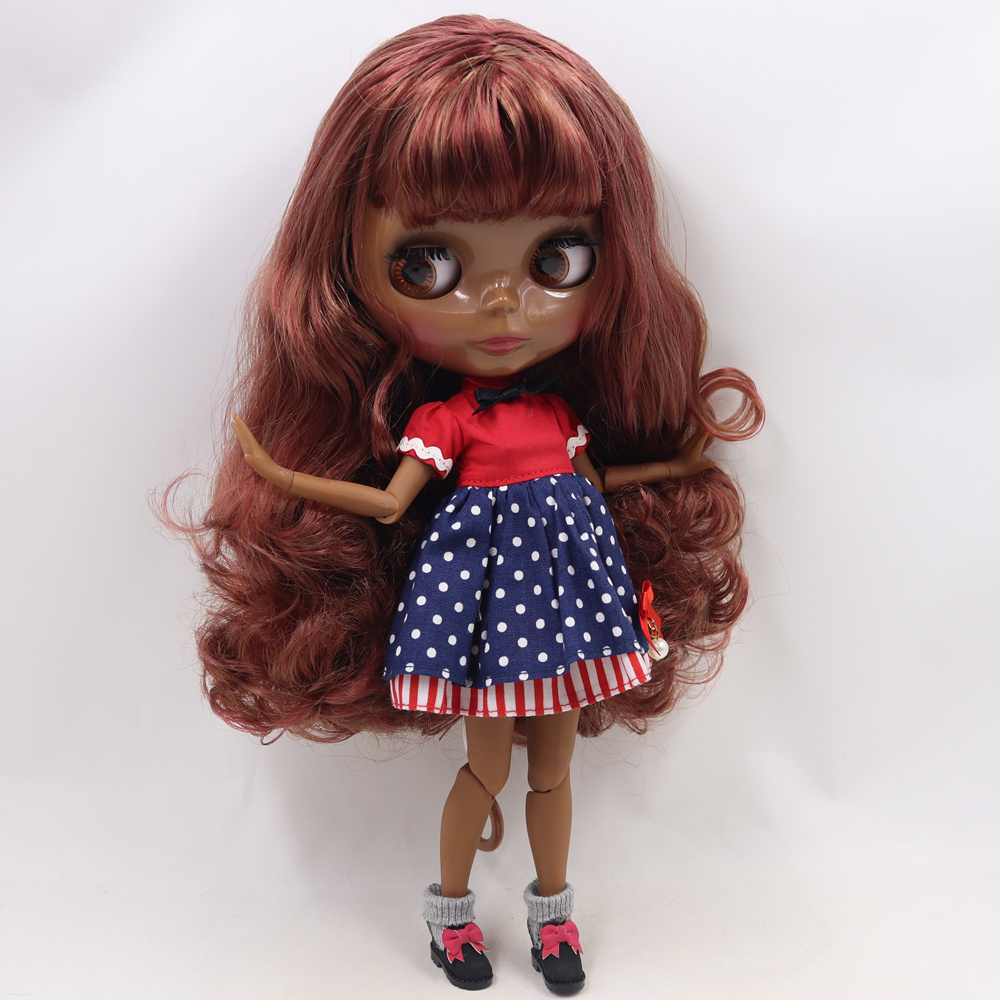 ICY Nude Blyth doll No BL9158 12532 Brown mix Burgundy hair JOINT body Super Black skin