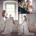 Vintage Boho Long A Line Backless V Neck Flare Bridal Gowns Lace Bohemian Wedding Dresses With Short Sleeves Vestidos De Noiva