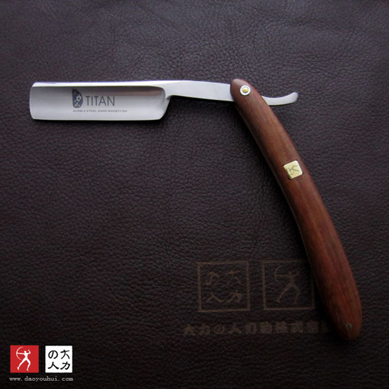 free shipping Titan wood handle  straight razor steel blade sharp already  1