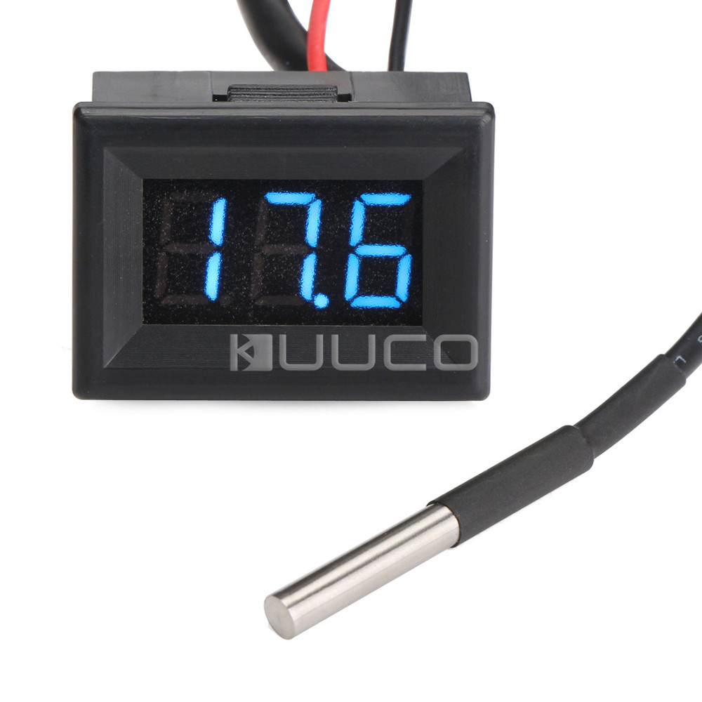 DC12V/24V Digital Thermometer 0.36 Blue LED -55 ~125 Celsius Degrees Temperature Test Meter for Car/Room/Water and DIY etc 55 125 celsius degrees red led digital car thermometer temperature meter ds18b20 sensor page 1