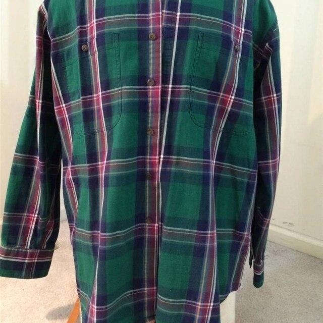 CHAPS mens size M medium button down shirt green plaid 100% cotton Ralph  Lauren 58d440a9061
