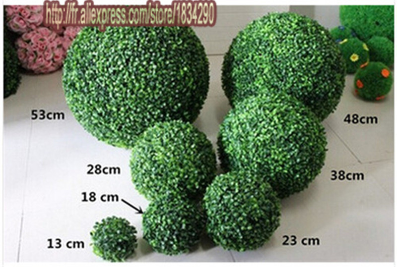 26cm bonsai plants artificial plastic boxwood ball grass for Artificial grass indoor decoration