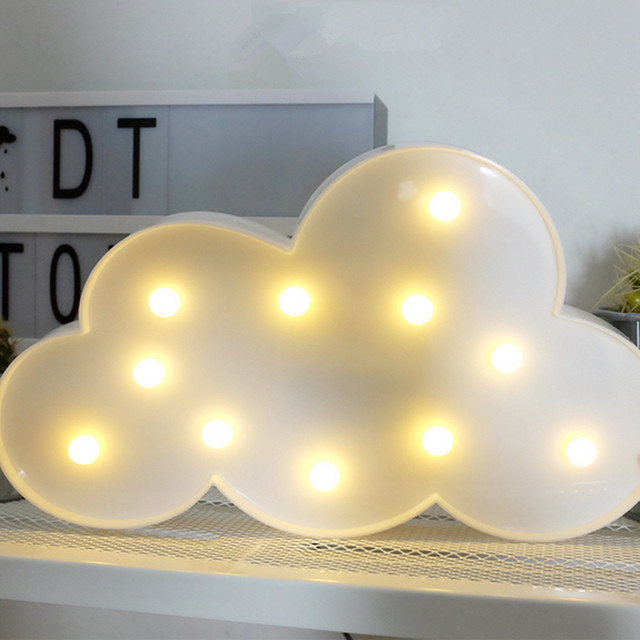 3 Colors Cloud LED Light Battery Operated Night Wall Lamp Kids Children  Birthday Gifts Home Room