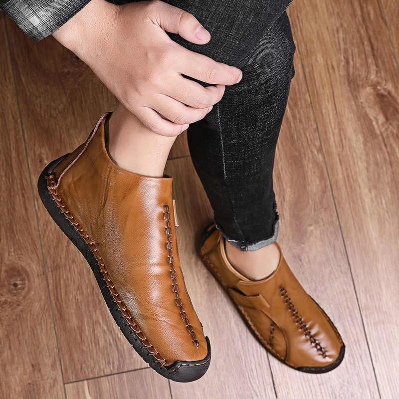 Брендовые мужские зимние ботинки мужские кожаные ботильоны высокого качества теплые зимние мужские ботинки на меху модная Осенняя Классическая обувь, размеры 38-48