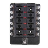12 Way 32V 100A Blade Fuse Box Holder With LED Warning Light Kit For Car Boat