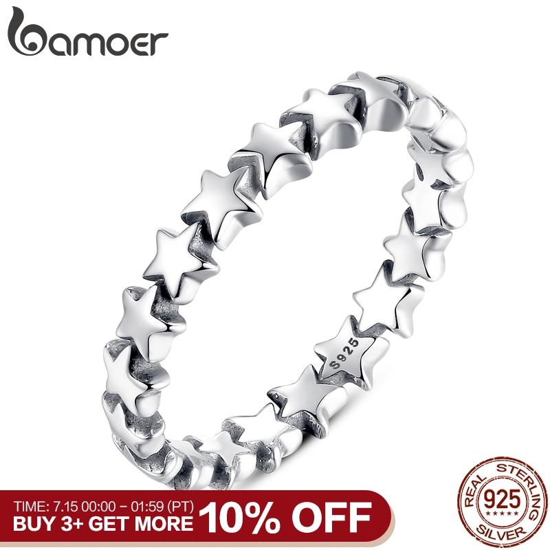 BAMOER Star Trail Stackable Finger Ring For Women Wedding 100% 925 Sterling Silver Jewelry 2019 HOT SELL PA7151(China)