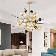 Стеклянная люстра в форме освещения столовая лампа гостиная Золотистая люстра современная спальня светодиодные креативные стеклянные светильники