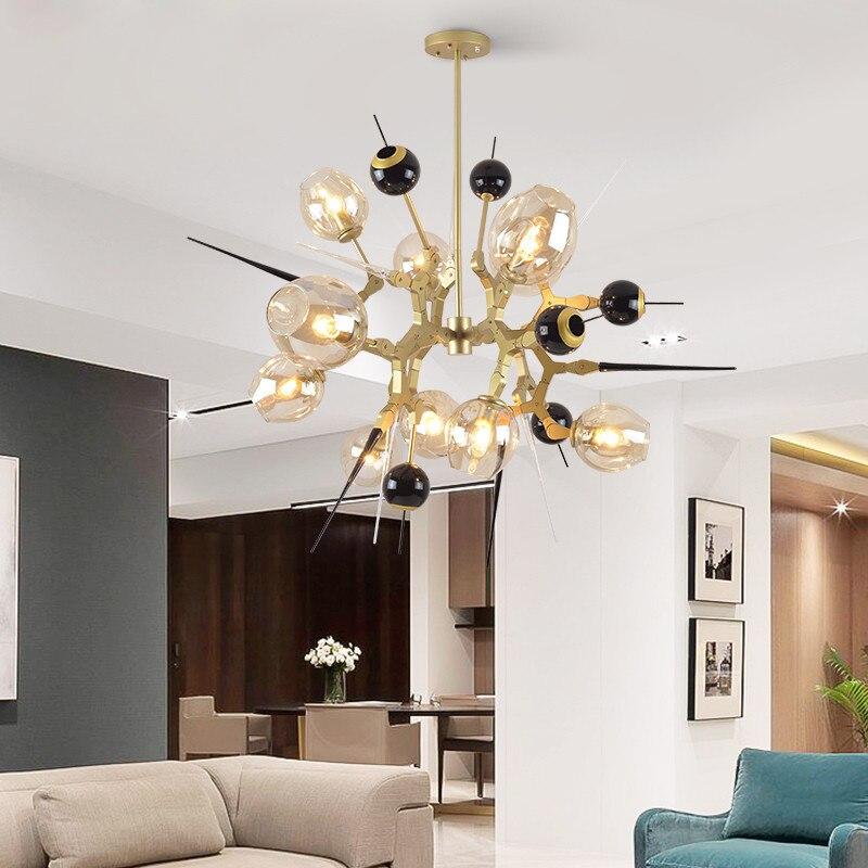 Pecial en forme de lustre éclairage personnalité salle à manger salon lustres en or chambre moderne led créatif lumières en verre