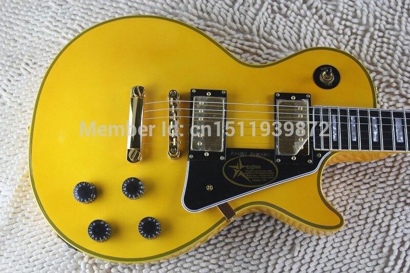 Top Randy Rhoads Signature LP Custom Shop Ebony Fingerboard Yellow Electric Guitar Frets Binding with golden Hardware