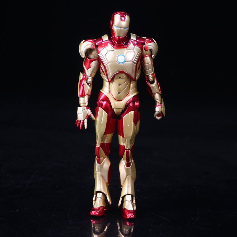 Avengers Age of Ultron Super Heroes Iron Man Glod Ver. PVC Action Figure Collectible Model Anime Kids Toys Doll 18cm 2017 new avengers super hero iron man hulk toys with led light pvc action figure model toys kids halloween gift