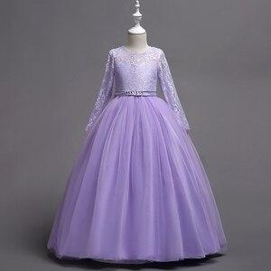 Image 3 - Hàng Mới Về Công Chúa Tay Dài Hồng Đầm Ren Hoa Bé Gái Váy Đầm Bé Gái Cuộc Thi Đầm Rước Lễ Lần Đầu Đầm Dài Dạ Tiệc