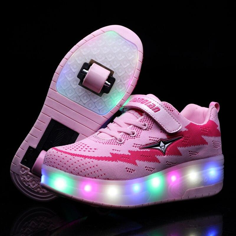 Enfants Heelies lumière LED baskets deux roues garçons filles roller skate chaussures décontractées avec rouleau enfants fille Sport chaussures USB charge