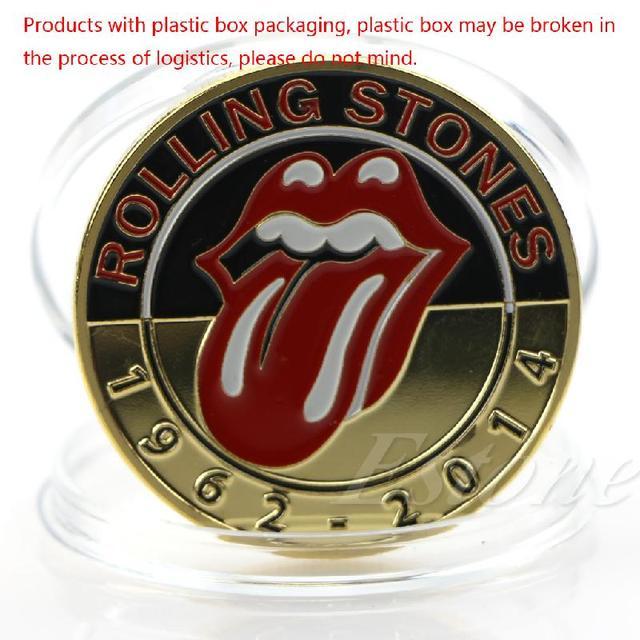 Colección de monedas conmemorativas de arte con piedras de laminación de grupo de música famosa chapada en oro