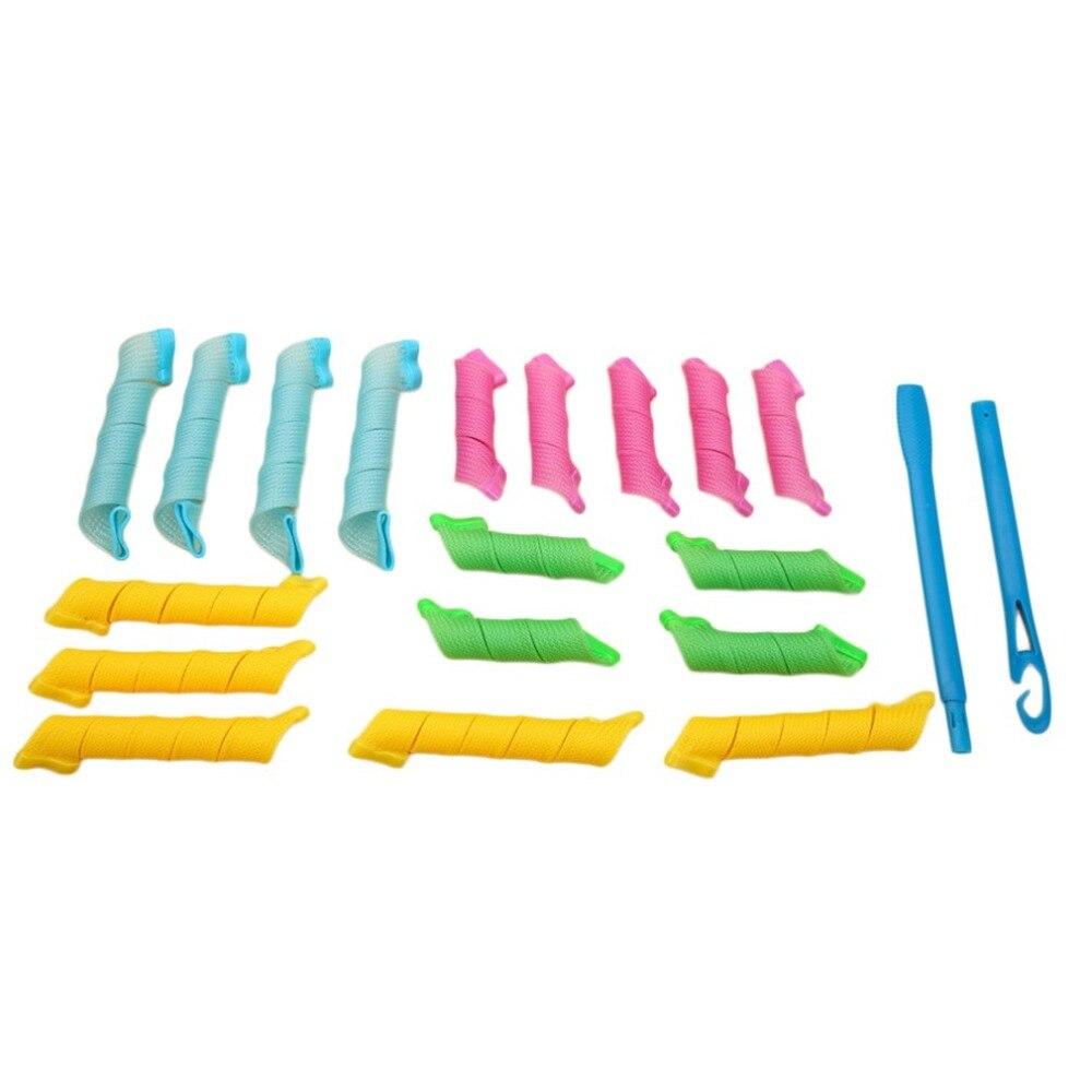 DIY Magic Hair Curlers Portátil 18 pcs Penteado Rolo Com 2 pcs Ganchos Varas Beleza Durável Styling Ferramentas de Maquiagem