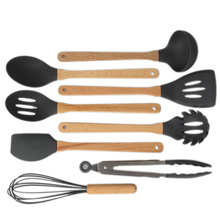 Kitchen Utensil Set Silicone Cooking Utensils 8Pcs Wooden Handles