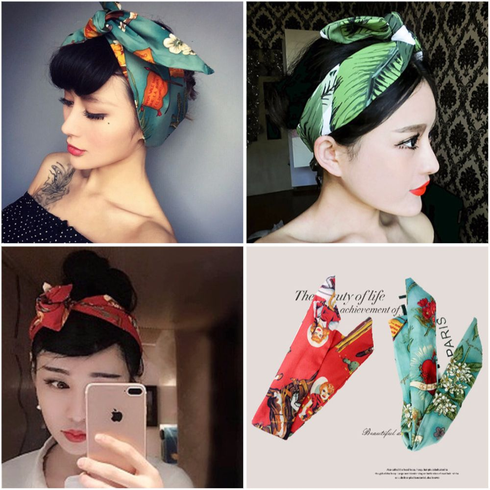 Fashion Rockabilly Ladies Knot Pattern Print Headband Vintage Head Wrap Scarf Hair Band Retro 50's Women