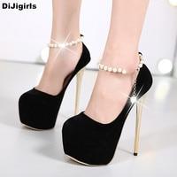 Fashion Straing Bead Pearl Extremely High Heels Sexy Platform Shoes Black Pumps Elegant Dress Ladies Shoes