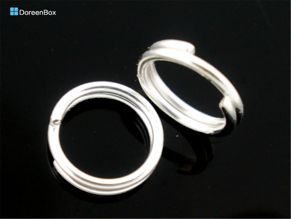 Doreen Box Lovely 400 PCs Silver Color Double Loops Open Jump Rings 8mm Dia. Findings (B04161)
