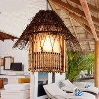 Ресторан юго освещения Подвесные светильники Бамбук из ротанга творческих сад балкон проход домашнего декоративного освещения лампы ZA