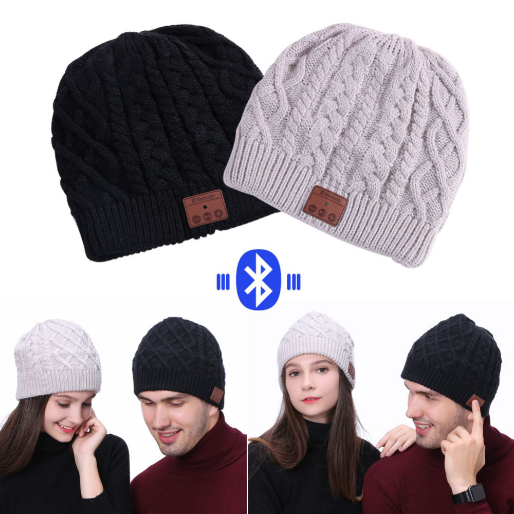 Winter Caps Hats Multifunction with Wireless Bluetooth Headphone Music Player Beanie Knit Cap with Stereo Speakers Microphone unisex winter plicate baggy beanie knit crochet ski hat cap red