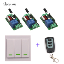 Sleeplion 220V 110V 10A wireless Wall Switch Remote control Transmitter+3 Receiver Teleswitch Light Lamp LED ON/OFF sleeplion 12v 4ch wireless remote control system tele on off 1 2 3 transmitter 1 receiver universal gate on off remote control