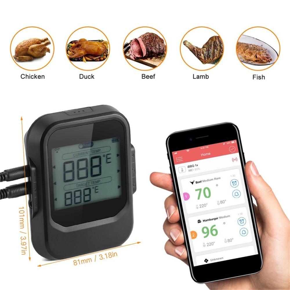 Lebensmittel Kochen Bluetooth Wireless BBQ Thermometer Mit Sechs Sonden und Timer Für Ofen Fleisch Grill Kostenloser App Control-in Weiteres Grillwerkzeug aus Heim und Garten bei  Gruppe 2