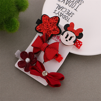1 Set =5PCS girls flowers hair clips cartoon hairpins toddlers kids Children Animal Bow SAFE Barrettes Hair Accessories Headwear 1