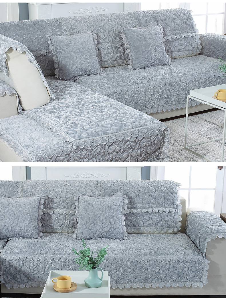 Thick Slip Resistant Couch Cover for Corner Sofa Made with Plush Fabric Including Lace for Living Room Decor 14