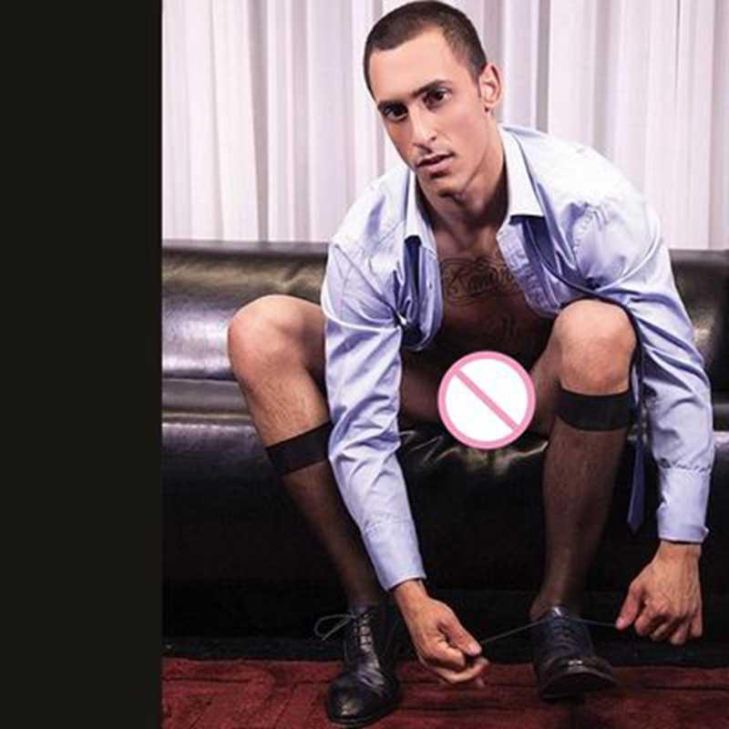 高品質弾性ソックスメンズドレススーツフォーマルホース靴下黒シアーロング靴下ナイロンシルク男性靴下セクシーな