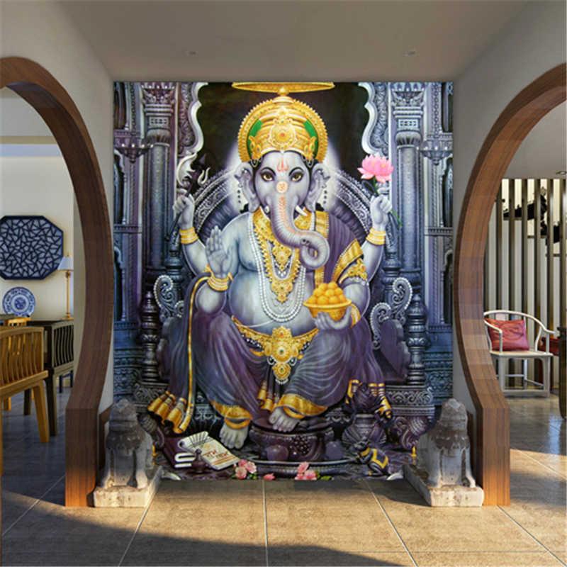 Beibehang em papel de parede para quarto 3d gaya asia tenggara yoga ruang mural wallpaper indian gajah dewa mural wallpaper