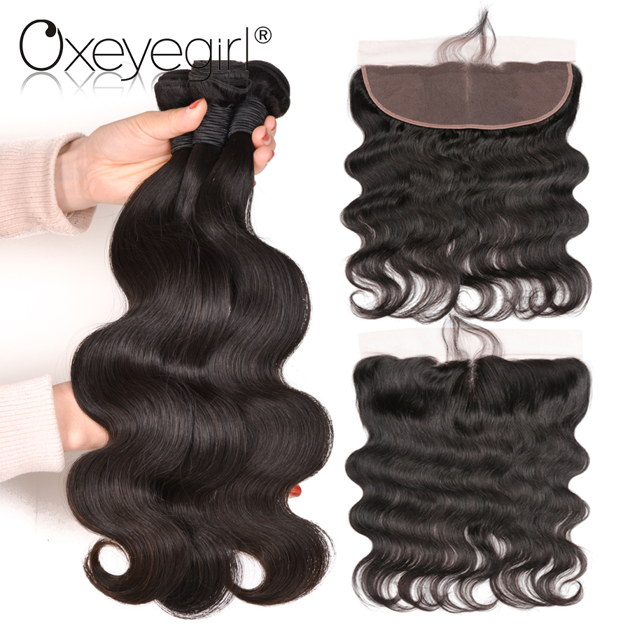 Oxeye Girl Peruvian Hair Bundles 4x13 Lace Frontal Closure With Bundles Body Wave Human Hair Bundles With Frontal Non Remy