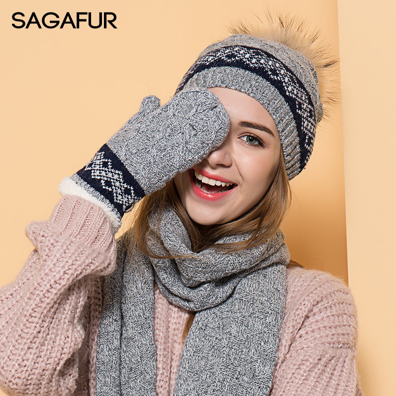 Warm Scarf Hat Glove Sets Fur Pompom Hat Women's Winter Fashion Knitted Hat Female Beanies For Ladies Girls Thicker Hat Sets