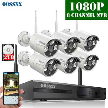 OOSSXX 8CH Wireless NVR Kit CCTV Camera System 6pcs 1080P 2.0MP Indoor Outdoor IP Security Camera Wifi Video Surveillance System - DISCOUNT ITEM  10% OFF All Category