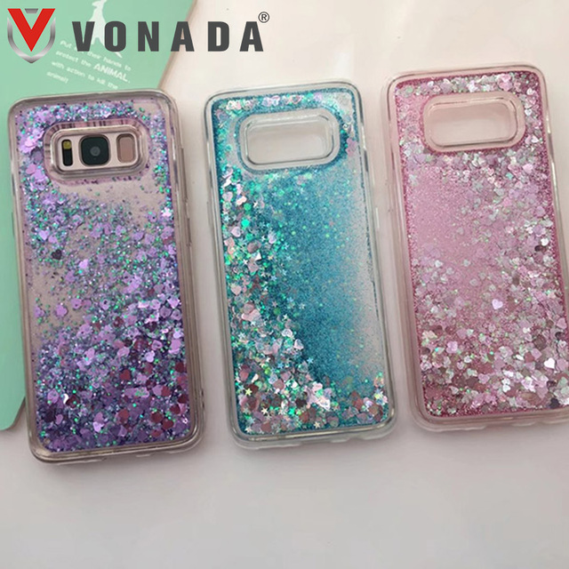 sale retailer 06ccd 19930 US $3.83 15% OFF|Vonada Case for Samsung Galaxy S8 / S8 Plus Bling Bling  Glitter Liquid Quicksand Rubber TPU Gel Soft Mobile Phone Case Cover-in ...