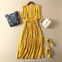 French 100% viscose V collar waist knot half sleeve floral printing midi dress
