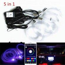 Luz LED RGB para Interior de coche, luz de neón con sonido activo, Multicolor, Control por Bluetooth, ambiente, Kit de 12V, novedad