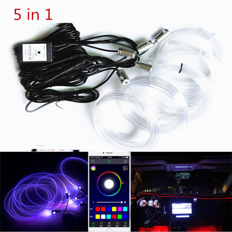 New Active sound <font><b>EL</b></font> neon wire Strip light RGB LED <font><b>car</b></font> Interior light Multicolor phone Bluetooth <font><b>Control</b></font> atmosphere light 12V Kit image