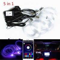 Nuevo sonido activo EL cable de neón tira de luz RGB LED coche Interior luz Multicolor teléfono Bluetooth Control atmósfera luz 12V Kit