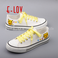E LOV Latest Women Girls Graffiti Canvas Shoes Hand Painted Anime Casual Flats Shoes Plus Size