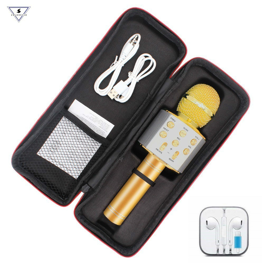 Gold New WS 858 Wireless Microphone Portable Bluetooth MIC Recording Condenser Handheld Microphone Built-in Speaker Outdoor KTV