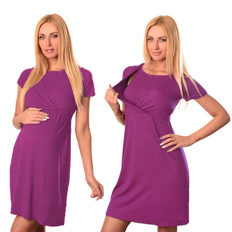 Pregnant Women Nursing dress Maternity Clothes Short Sleeve Pregnancy Breastfeeding Dresses Plus Size Vestidos H0064