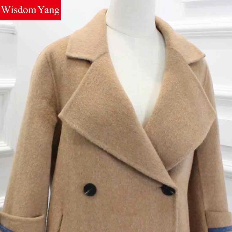 Зимнее пальто Camel с длинным рукавом Женские 70% овечья шерсть 8% кашемировые пальто Альпака отложной офисный элегантный Тренч шерстяные пальто