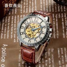 ГРУ бренд мужской механические наручные часы Полностью автоматическая кожа Моды водонепроницаемый Световой Скелет мужской Цифровые часы