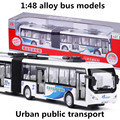 1:48 alloy bus models, pull back &  flashing & musical, urban public transport, metal diecasts, toy vehicles, free shipping